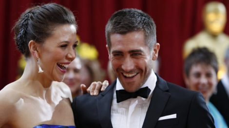 Maggie Gyllenhaal shares a laugh with her brother Jake at the 82nd Academy Awards in Hollywood